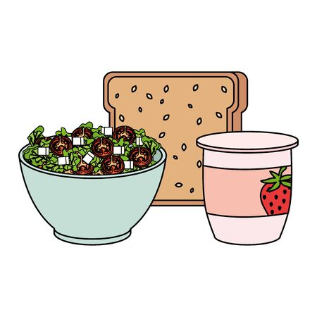 ceramic bowl with vegetables salad and bread vector illustration design
