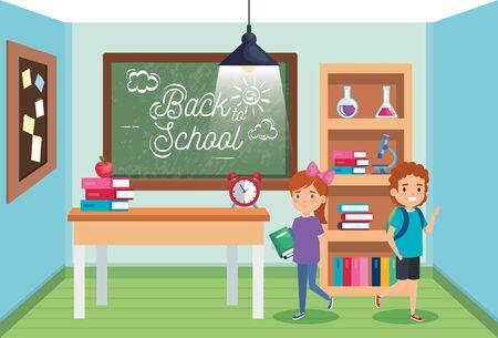 étudiants garçons et filles avec des livres et des pommes à l'illustration vectorielle de retour à l'école