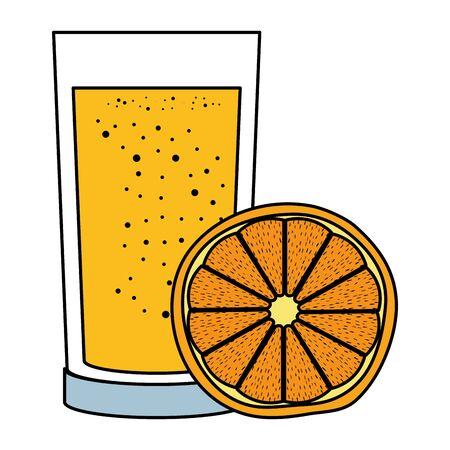 orange juice citrus fruit with glass vector illustration design Archivio Fotografico - 129879675