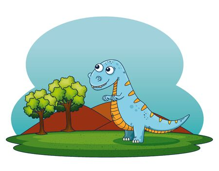 thescelosaurus wild dinosaur with mountains with trees to prehistoric animal vector illustration