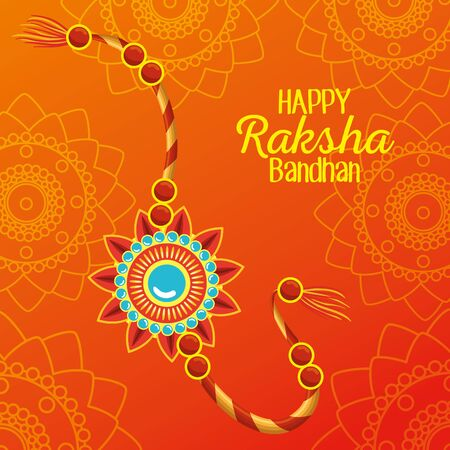 happy raksha bandhan with bracelet decoration to hindu event, vector illustration