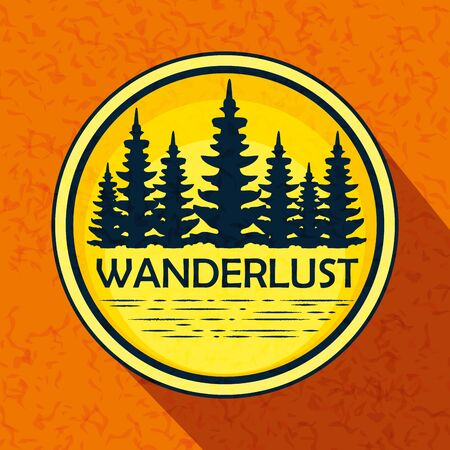 label of nature pines trees landscape to wanderlust adventure vector illustration