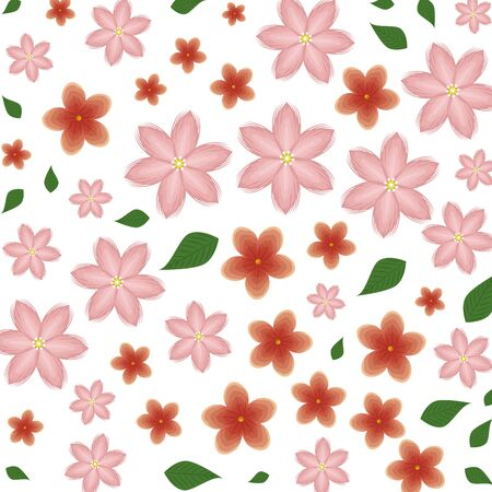 beautiful flowers with leafs pattern background vector illustration design