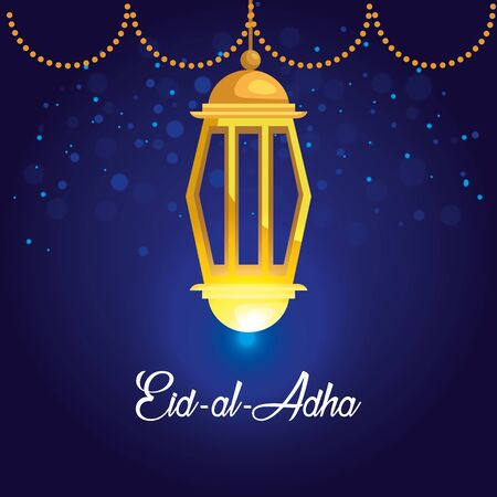 traditional lamp hanging traditional decoration to eid al adha, vector illustration Ilustrace