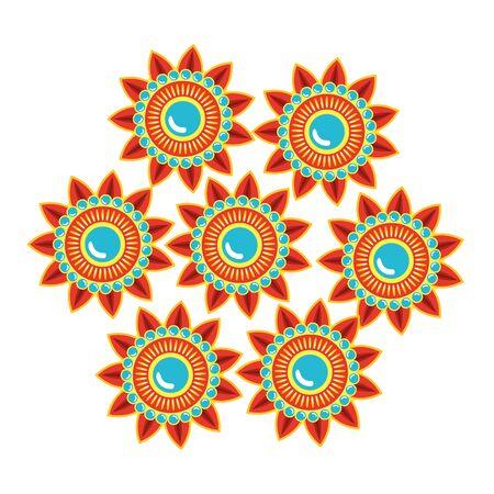 decorative set of mandalas ethnic boho style vector illustration design Illustration
