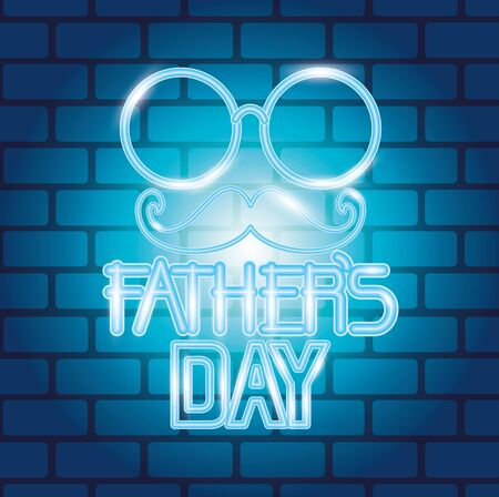 glasses and mustaches decoration to fathers day vector illustration