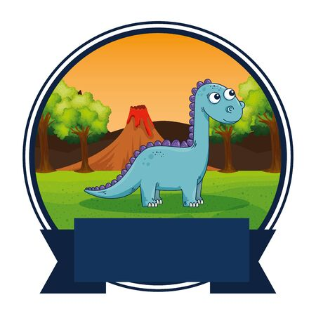 cute diplodocus in the landscape scene vector illustration design Stockfoto - 129879749