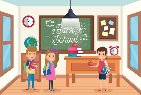 girl and boys students with books and apple fruit to back to school vector illustration