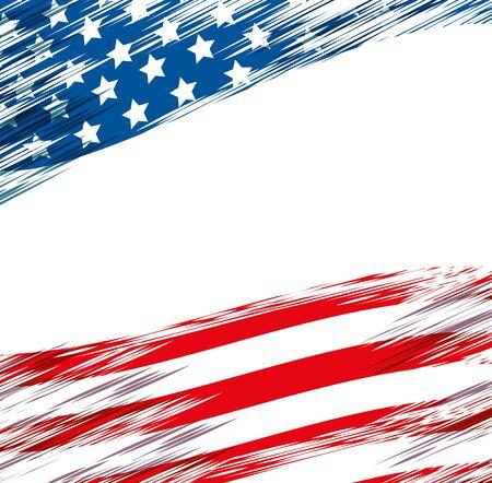 Bandera de los Estados Unidos de América, diseño de ilustraciones vectoriales
