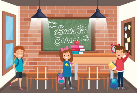 girl and boys student with books and apple fruit to back to school vector illustration