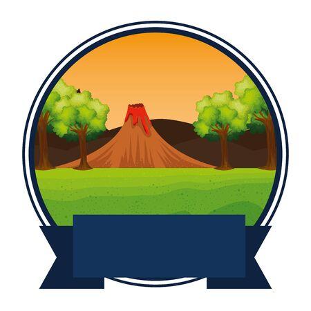 circular frame jurassic landscape and volcano scene vector illustration design