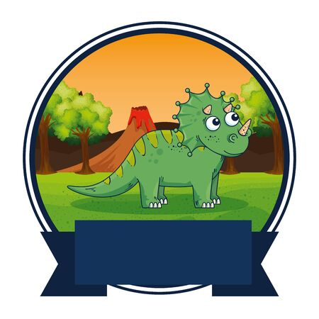 cute triceratops in the landscape scene vector illustration design