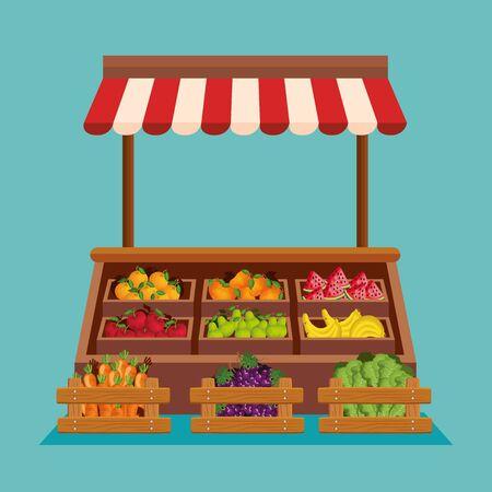 natural shop of fresh fruits and vegetables over blue background, vector illustration Stock Illustratie