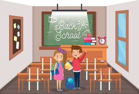 girl and boy students with desks and blackboard in the classroom to back to school vector illustration