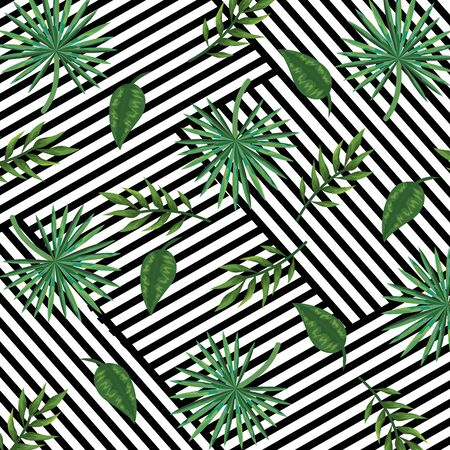 geometric abstract lines texture and tropical background with leaves style vector illustration