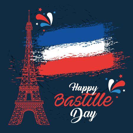 eiffel tower with france national flag to bastille celebration vector illustration Foto de archivo - 129880196