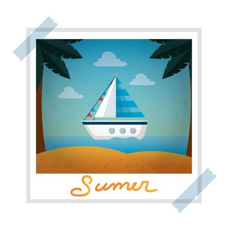 photo snapshot with summer beach and sailboat vector illustration design