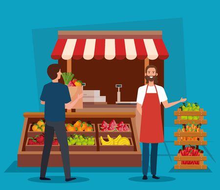salesman and man costumer with fresh vegatables and fruits products over blue background, vector illustration Standard-Bild - 129880206