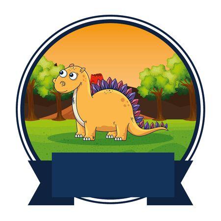 cute diplodocus in the landscape scene vector illustration design Stock Illustratie
