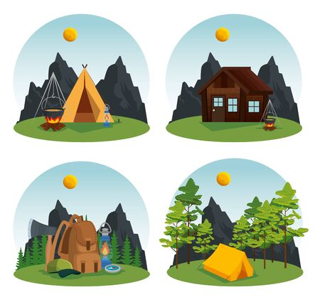 set of camp and cabin with nature trees and mountains to summer adventure vector illustration Banque d'images - 129880323