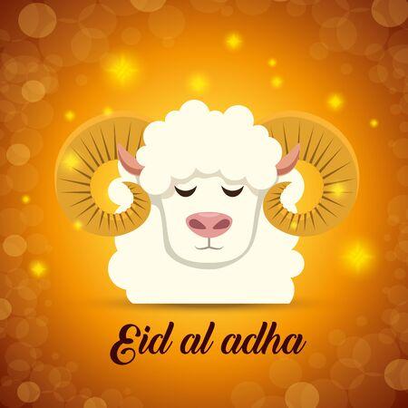 traditional sheep xalda with lights design to eid al adha, vector illustration