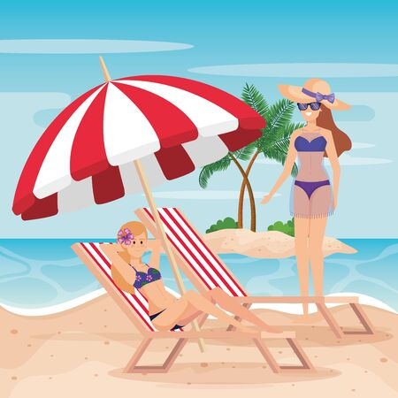 women wearing swimsuit with tanning chair and umbrella to summer time vector illustration