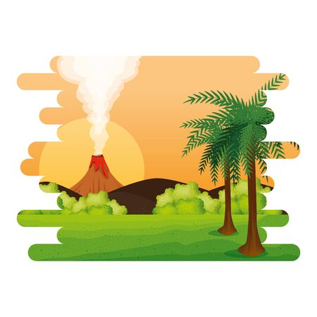 jurassic landscape with smoking volcano scene vector illustration design