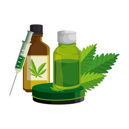 cannabis oinment with syringe and leafs vector illustration design Imagens - 129880389