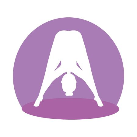 silhouette of woman practicing pilates position vector illustration design