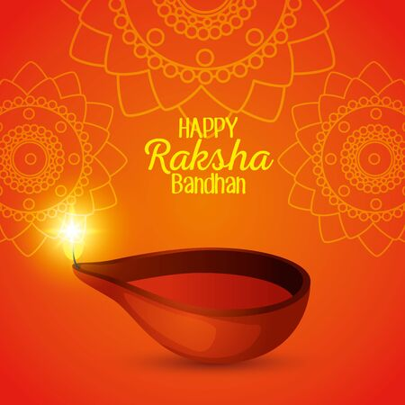 poster of hindu event with candle decoration to raksha bandhan, vector illustration
