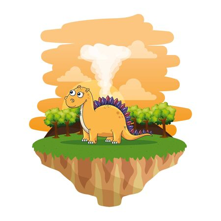 cute diplodocus in the landscape vector illustration design Imagens - 129881094
