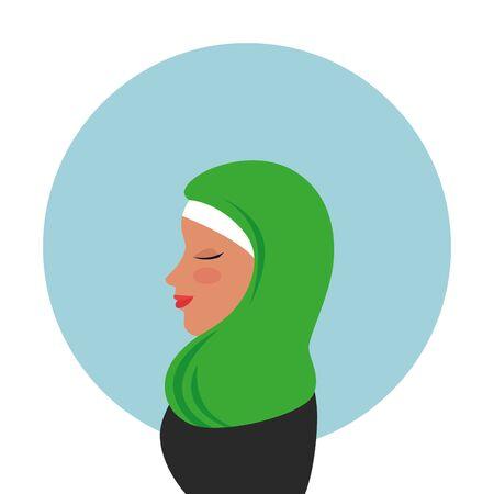 profile of islamic woman with traditional burka vector illustration design Ilustração