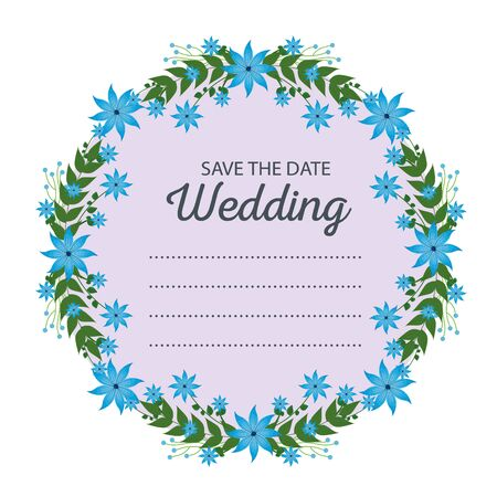 wedding card and frame with flowers amd branches leaves vector illustration
