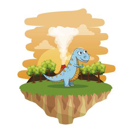 cute tyrannosaurus rex in the landscape vector illustration design