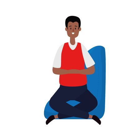 afro businessman seated in the sofa vector illustration design Иллюстрация