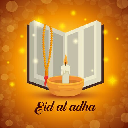 tradional bible with rosary and candle decoration to eid al adha, vector illustration