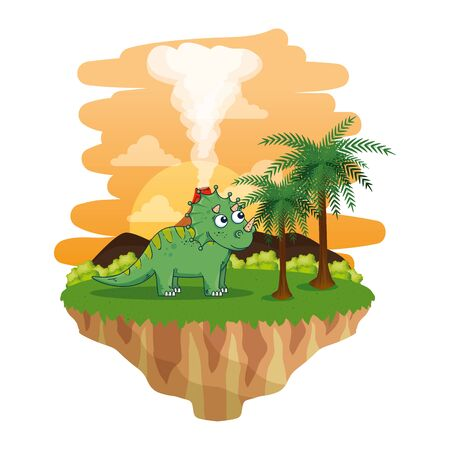 cute triceratops in the landscape scene vector illustration design Imagens - 129881196