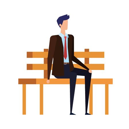 elegant businessman seated in the park chair character vector illustration design