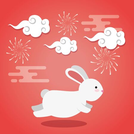 rabbit running with clouds and fireworks decoration over pink background, vector illustration