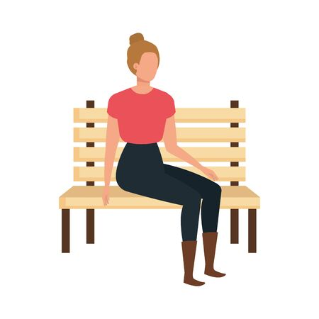 beautiful and young woman seated in park chair vector illustration design Иллюстрация
