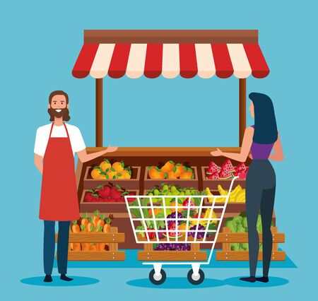 salesman and woman costumer with shopping car and fresh products over blue background, vector illustration Stock Illustratie