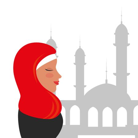 profile of islamic woman with traditional burka in mosque vector illustration design Banque d'images - 129881282
