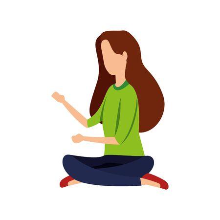 elegant businesswoman seated in lotus position vector illustration design