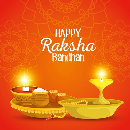 poster of hindu event with candle and food with bracelet to raksha bandhan, vector illustration Ilustração