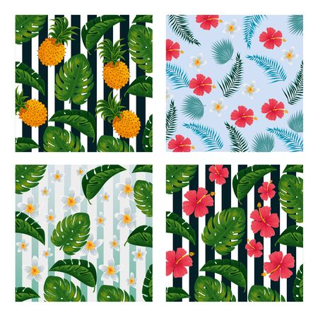 set pineapples with flowers and leaves vintage background vector illustration