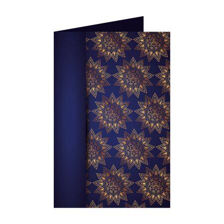 postcard with golden mandalas pattern victorian style vector illustartion design