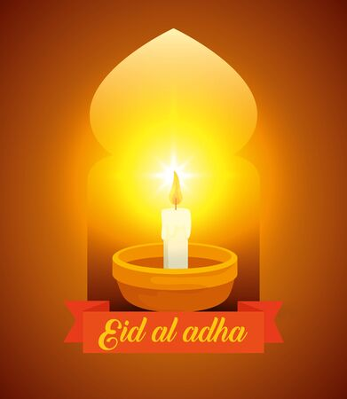 candle with ribbon traditional decoration design to eid al adha, vector illustration