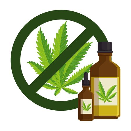 cannabis leafs with denied symbol and bottles product vector illustration design Illustration