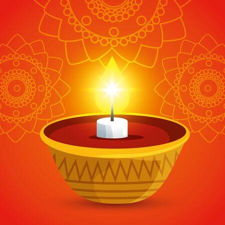 poster of hindu event with candle design to raksha bandhan, vector illustration Illusztráció