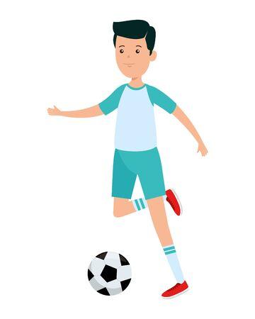 happy athletic boy practicing football soccer vector illustration design